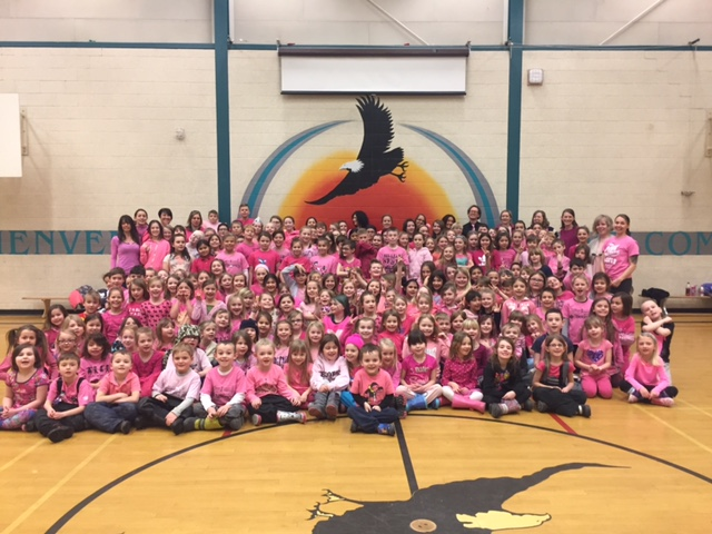 Students stand up for a kind and safe school and help to raise awareness about bullying on Pink Shirt Day.