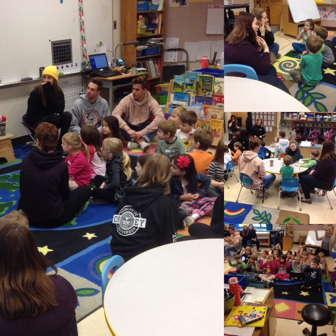 Student's from RSS come to teach sign to Mrs. Payne's Kindies!